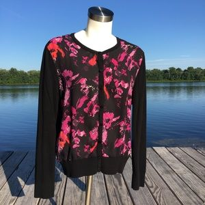 Factory Ann Taylor black floral silk cardigan